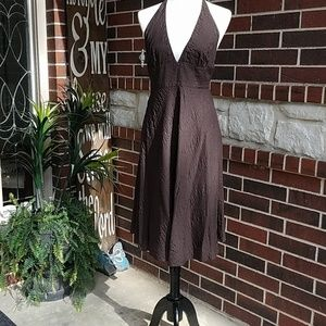 J. Crew Dark Brown Halter A-line Midi Dress